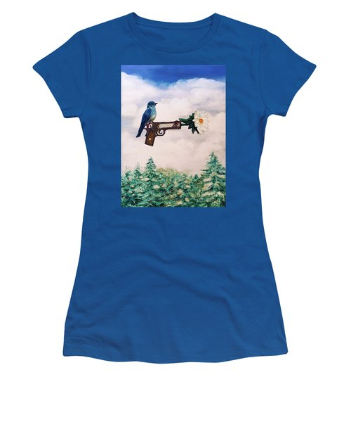 Flower In A Gun- Bluebird Of Happiness Women's T-Shirt