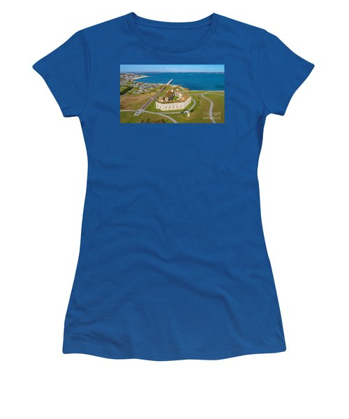 Women's T-Shirt (Athletic Fit) featuring the photograph Fort Tabor Or Fort Rodman by Michael Hughes