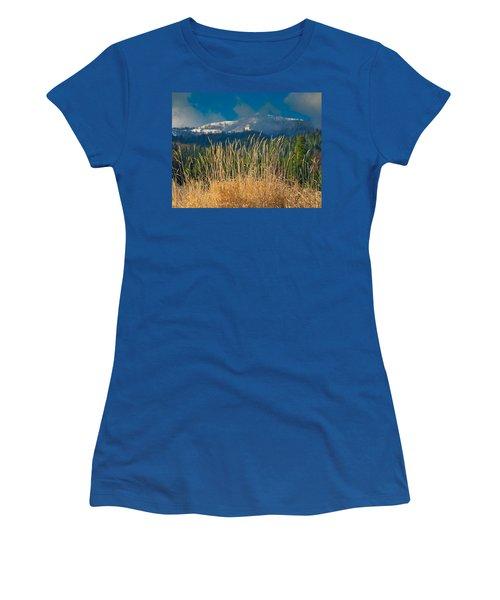Gold Grass Snowy Peak Women's T-Shirt