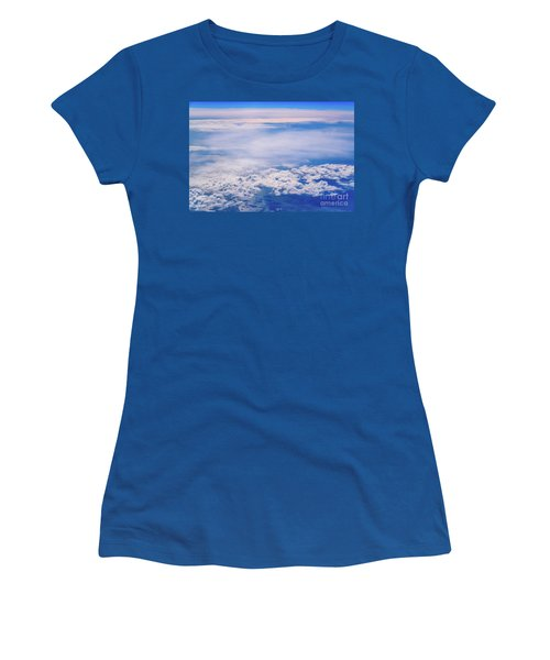 Intense Blue Sky With White Clouds And Plane Crossing It, Seen From Above In Another Plane. Women's T-Shirt