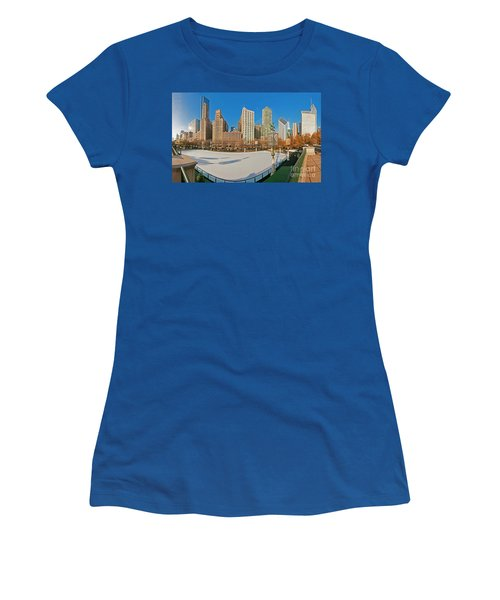 Mccormick Tribune Plaza Ice Rink And Skyline   Women's T-Shirt