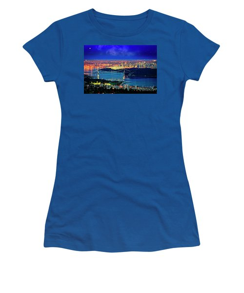 Women's T-Shirt featuring the photograph Moon Over Vancouver by Scott Kemper