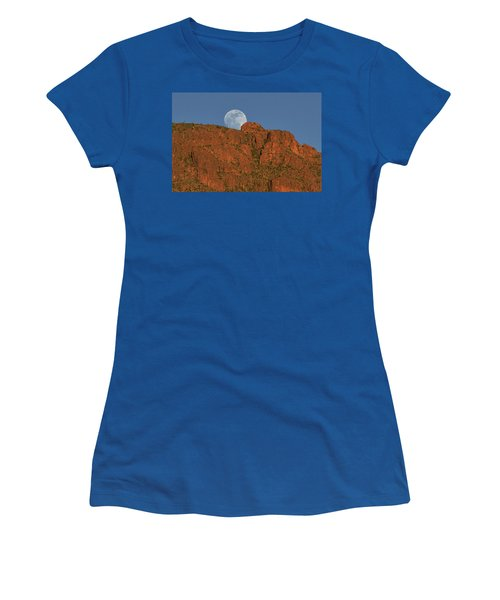Moonrise Over The Tucson Mountains Women's T-Shirt