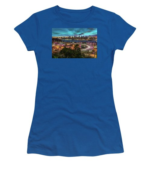 Women's T-Shirt featuring the photograph Nj And Ny Sunrise by Francisco Gomez