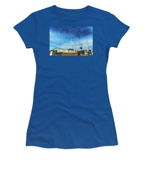Old Buildings In The City Of Bari With Roofs Full Of Old Televis Women's T-Shirt