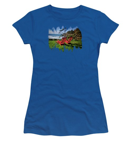 Red Chairs At Agate Beach Women's T-Shirt