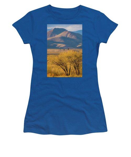 Sandhill Cranes Near The Bosque Women's T-Shirt