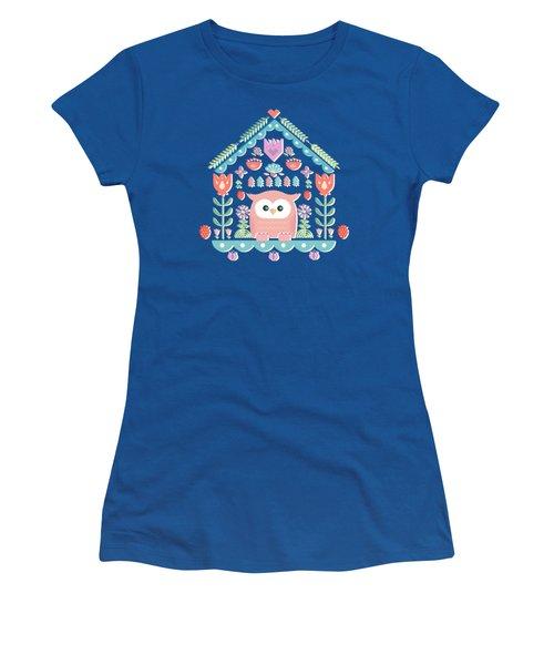 Scandinavian Folk Style Owl Bird House Women's T-Shirt