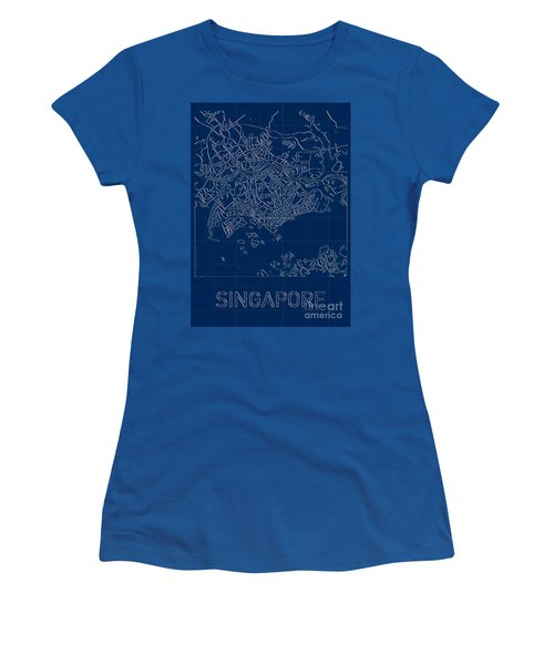 Singapore Blueprint City Map Women's T-Shirt