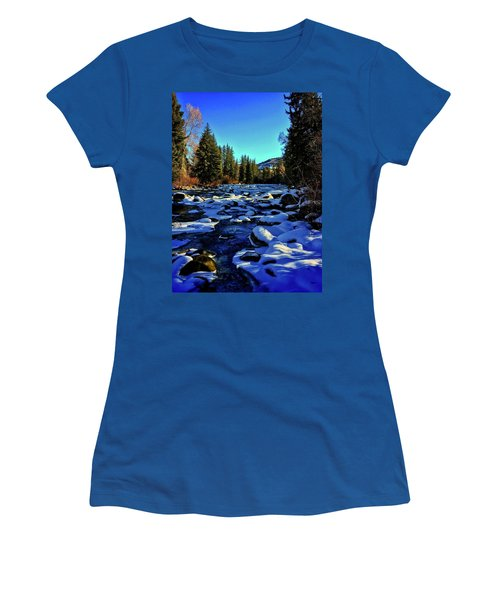 Women's T-Shirt featuring the photograph Snowy Eagle River by Dan Miller
