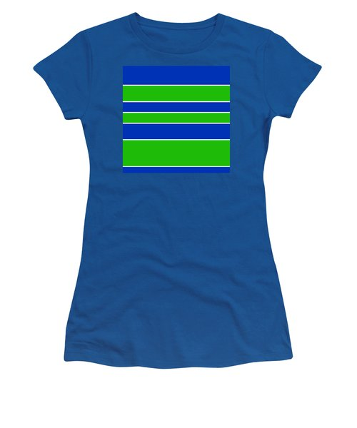 Stacked - Navy, White, And Lime Green Women's T-Shirt