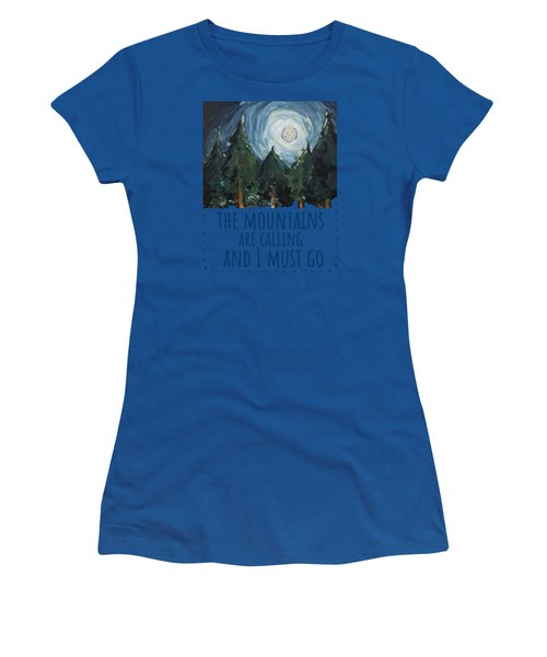 Women's T-Shirt featuring the painting The Mountains Are Calling by Maria Langgle