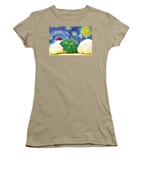 Farming On Broccoli And Cauliflower Under Starry Night Women's T-Shirt (Junior Cut) by Paul Ge