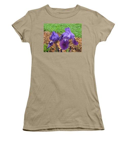 Women's T-Shirt (Junior Cut) featuring the photograph Iris After Rain by Katie Wing Vigil