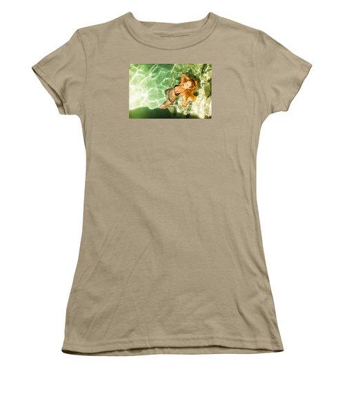 Women's T-Shirt (Junior Cut) featuring the photograph Wet Piper Precious No73-5824 by Amyn Nasser