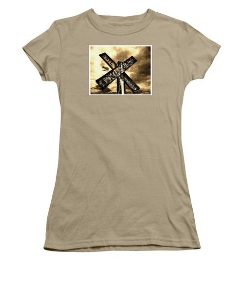 Women's T-Shirt (Junior Cut) featuring the photograph The Railroad Crossing by Glenn McCarthy Art and Photography