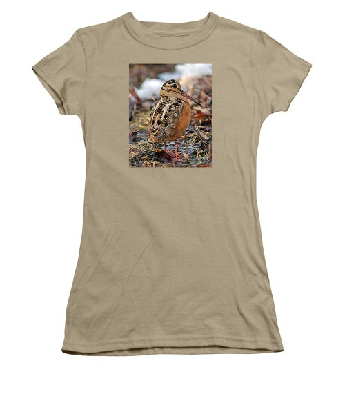 Timberdoodle The American Woodcock Women's T-Shirt (Junior Cut) by Timothy Flanigan