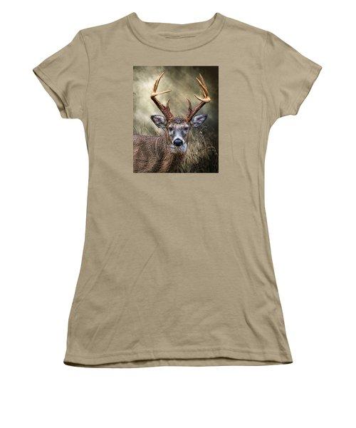 Women's T-Shirt (Junior Cut) featuring the digital art Trophy 10 Point Buck by Mary Almond