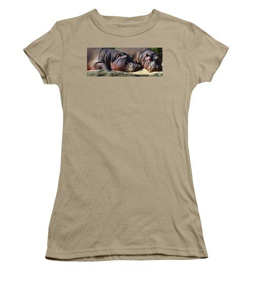Two Hippos Sleeping On Riverbank Women's T-Shirt (Junior Cut) by Johan Swanepoel