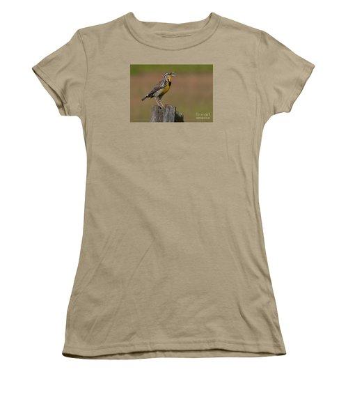 Western Meadowlark.. Women's T-Shirt (Junior Cut) by Nina Stavlund