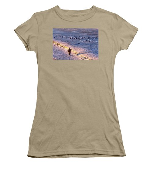 Women's T-Shirt (Junior Cut) featuring the photograph Winter Time At The Beach by Cynthia Guinn
