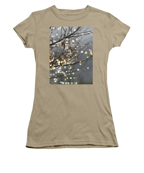 Women's T-Shirt (Junior Cut) featuring the photograph Raindrops And Leaves by Katie Wing Vigil