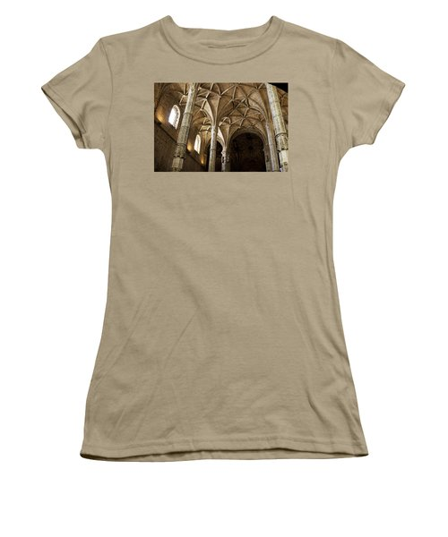 Women's T-Shirt (Junior Cut) featuring the photograph Lisbon Cathedral's Ancient Arches  by Lorraine Devon Wilke