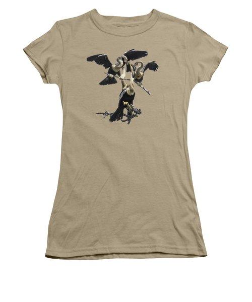 Anhinga Feeding Time Transparency Women's T-Shirt (Junior Cut) by Richard Goldman
