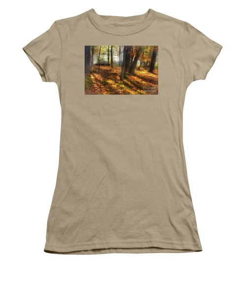 Women's T-Shirt (Junior Cut) featuring the painting Autumn Shadows In The Blue Ridge Ap by Dan Carmichael