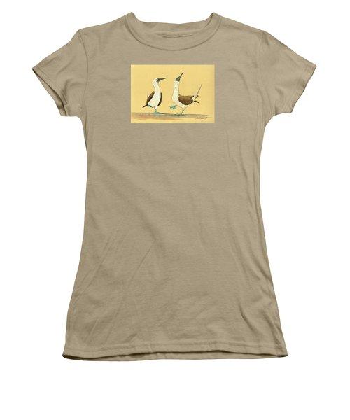 Blue Footed Boobies Women's T-Shirt (Junior Cut) by Juan  Bosco