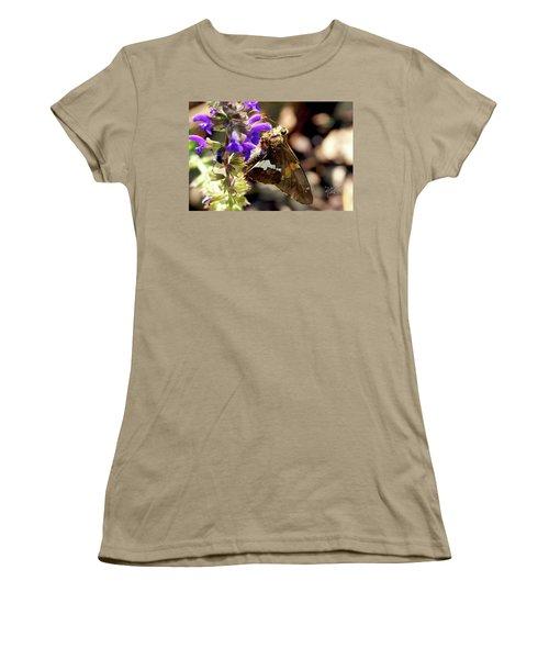 Women's T-Shirt (Junior Cut) featuring the photograph Moth On Purple Flower by Meta Gatschenberger