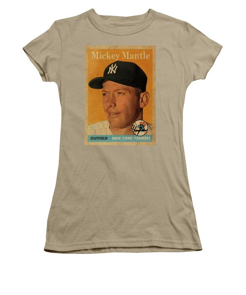 1958 Topps Baseball Mickey Mantle Card Vintage Poster Women's T-Shirt (Junior Cut) by Design Turnpike