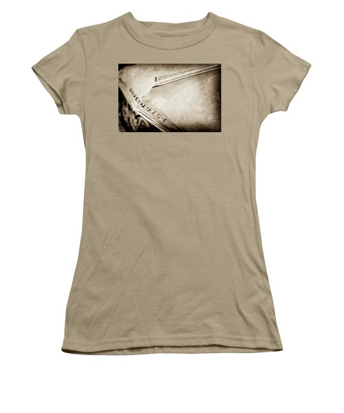 Women's T-Shirt (Junior Cut) featuring the photograph 1962 Oldsmobile Hood Ornament And Emblem -0598s by Jill Reger