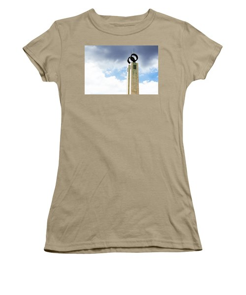 Women's T-Shirt (Junior Cut) featuring the photograph 1974 Revolution Memorial Wrapped In Clouds by Lorraine Devon Wilke