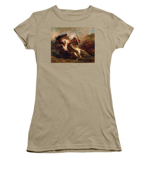 Women's T-Shirt (Junior Cut) featuring the painting Collision Of Moorish Horsemen by Eugene Delacroix