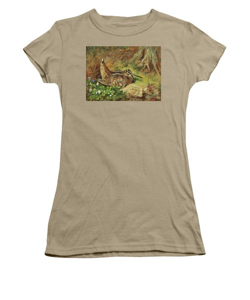 A Woodcock And Chicks Women's T-Shirt (Junior Cut) by Archibald Thorburn