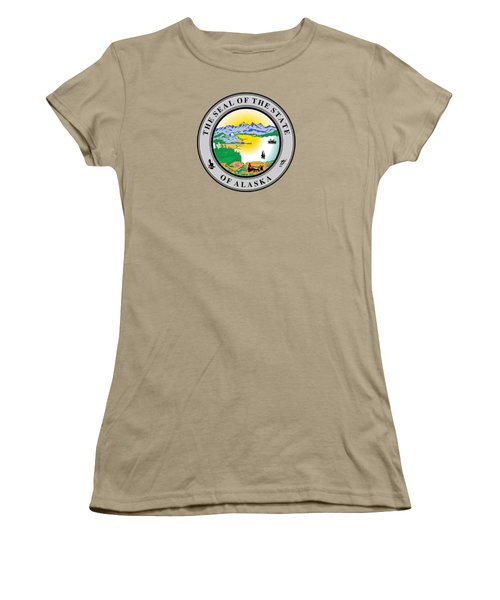 Alaska State Seal Women's T-Shirt (Junior Cut) by Movie Poster Prints
