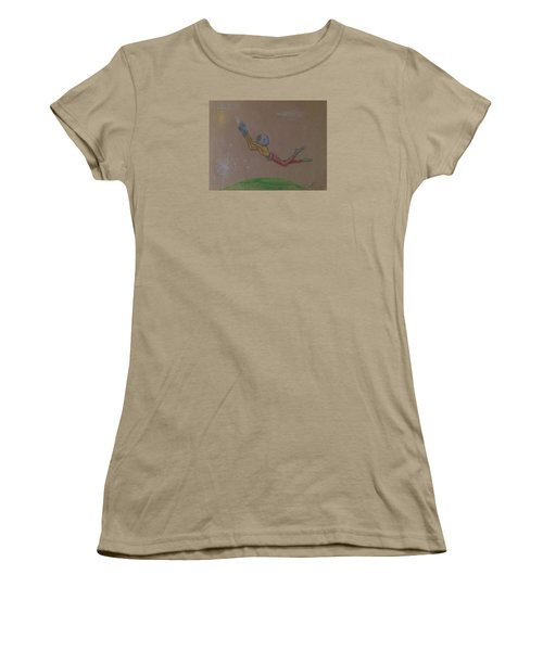 Women's T-Shirt (Junior Cut) featuring the drawing Alien Chasing His Dreams by Similar Alien