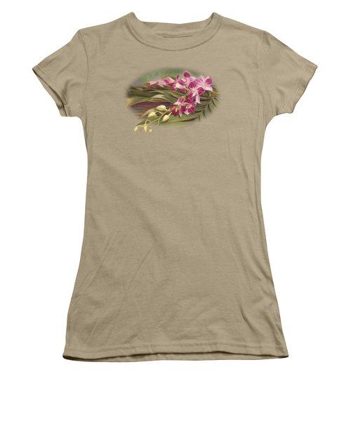 Dendrobium Orchids Women's T-Shirt (Junior Cut) by Lucie Bilodeau