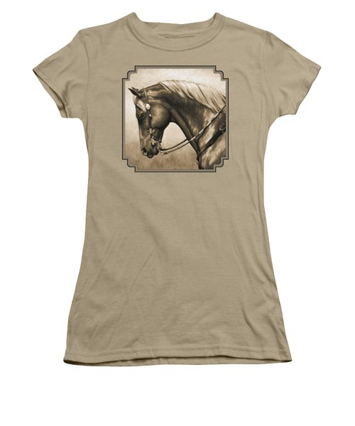 Western Horse Painting In Sepia Women's T-Shirt (Junior Cut) by Crista Forest