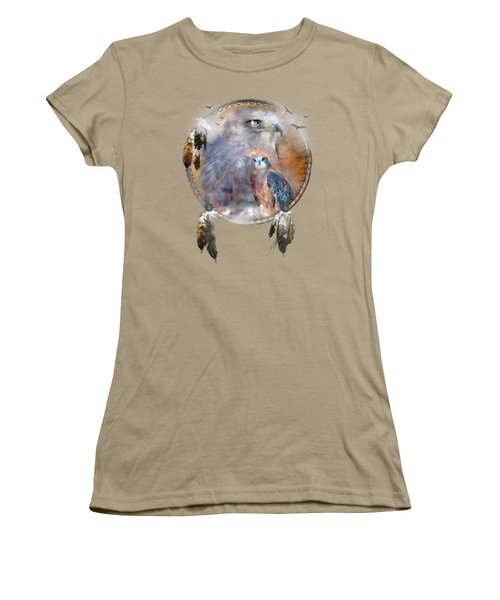 Dream Catcher - Hawk Spirit Women's T-Shirt (Junior Cut) by Carol Cavalaris