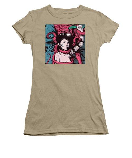 Mermaid Dying - Custom Longboard Women's T-Shirt (Junior Cut) by Razvan Socol