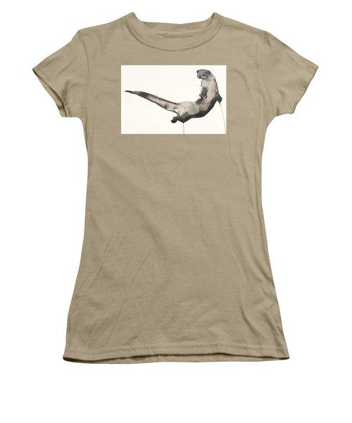 Back Awash   Otter Women's T-Shirt (Junior Cut) by Mark Adlington