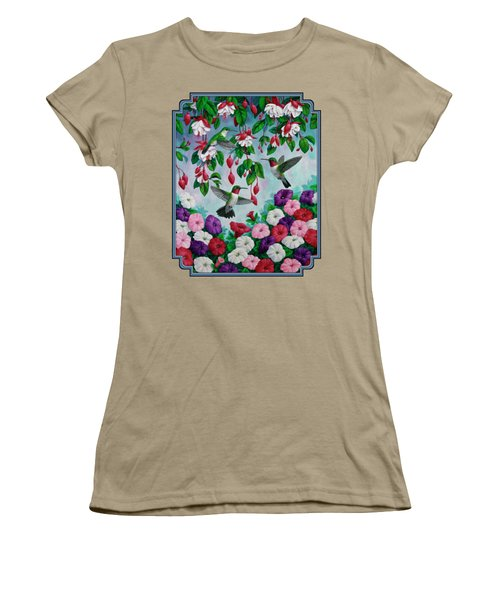 Bird Painting - Hummingbird Heaven Women's T-Shirt (Junior Cut) by Crista Forest