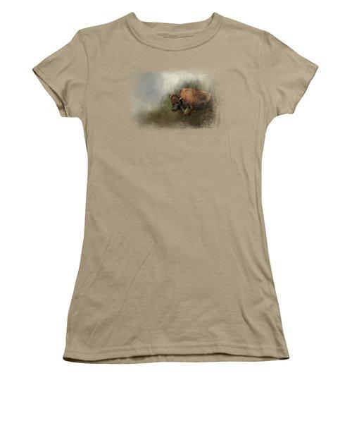 Bison After The Mud Bath Women's T-Shirt (Junior Cut) by Jai Johnson