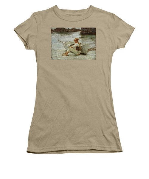Women's T-Shirt (Junior Cut) featuring the painting Boy And Boat  by Henry Scott Tuke