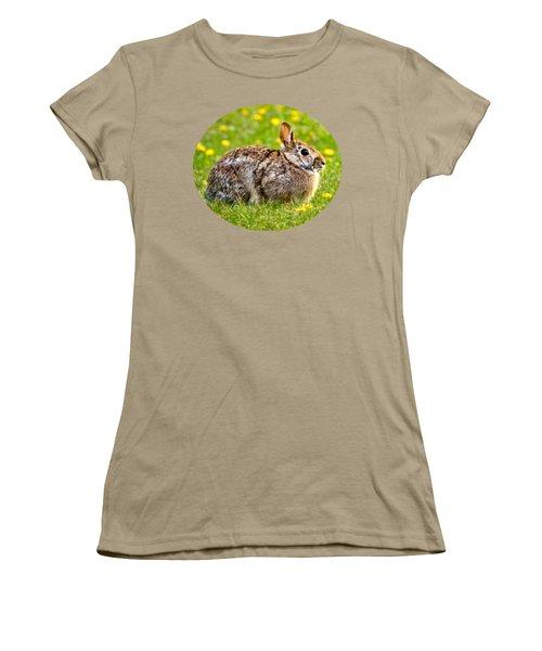 Brown Bunny In Green Grass Women's T-Shirt (Junior Cut) by Christina Rollo