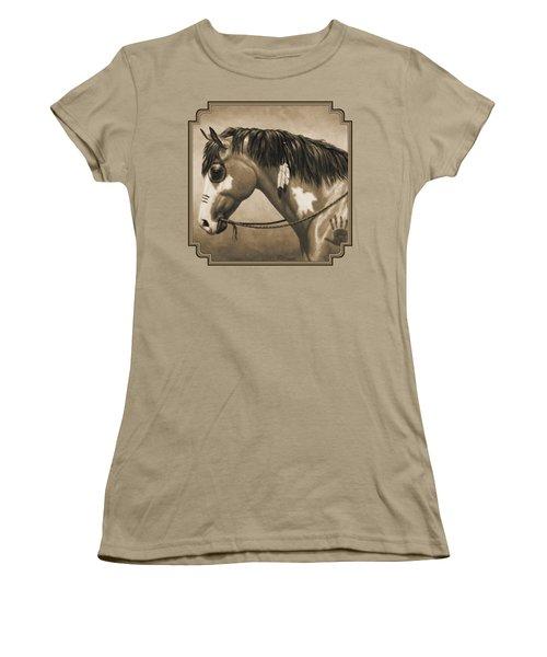 Buckskin War Horse In Sepia Women's T-Shirt (Junior Cut) by Crista Forest