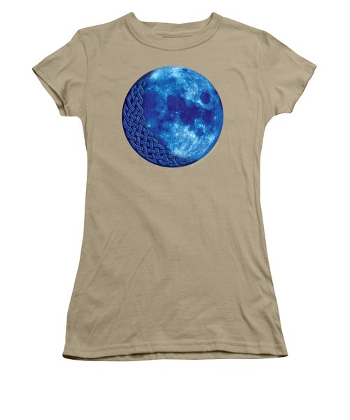 Women's T-Shirt (Junior Cut) featuring the mixed media Celtic Blue Moon by Kristen Fox