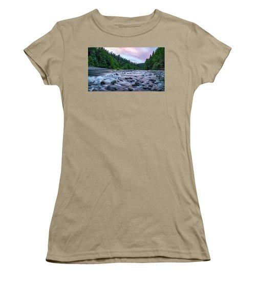Women's T-Shirt (Junior Cut) featuring the photograph Chetco River Sunset 2 by Leland D Howard
